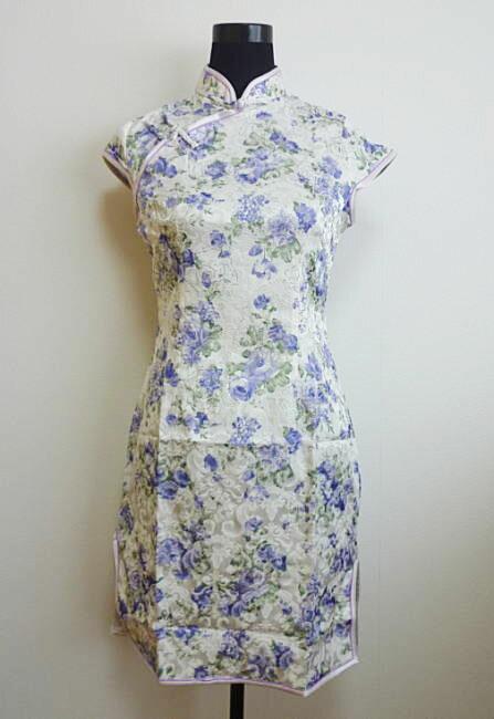 【デザインチャイナドレス】花ラメプリント・白×紫(L:11号)