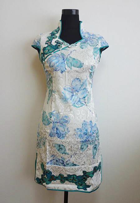 【デザインチャイナドレス】花ラメプリント・白×緑(XS、S、M、L)