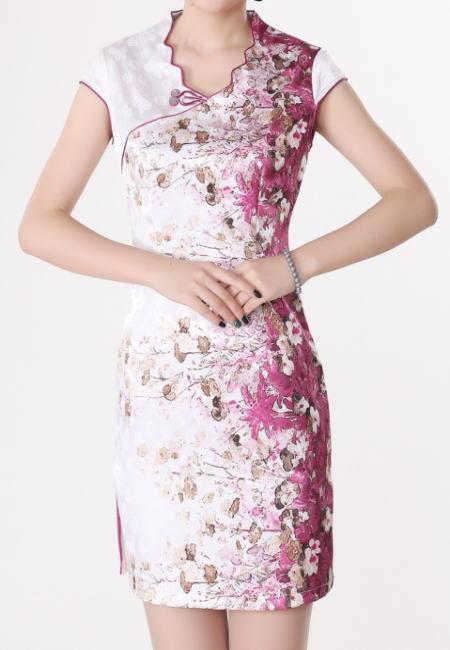 【デザインチャイナドレス】花プリント・白×赤紫(S、M、L)