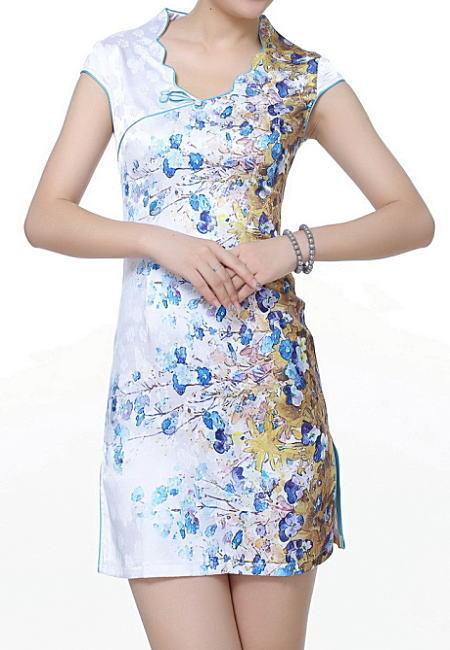 【デザインチャイナドレス】花プリント・白×水色(S、M、L)