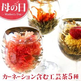 母の日 まだ間に合う ギフト カーネーション 花 咲く 花茶 工芸茶5種 セット フラワー プレゼント ジャスミン茶 プチプレゼント メール便 new md