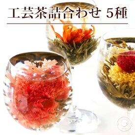 花 咲く 工芸茶5種 詰め合わせ セット 自宅用 ジャスミン茶ベース 誕生日プレゼント 女性 女友達 母 ブルーミングティー ハーバリウムのようにおしゃれ バースデー サプライズ メール便送料無料