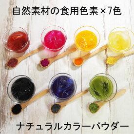 ナチュラルカラーパウダー 粉末食用色素 7色セット 赤 紫 黄 橙 青 緑 黒 天然着色料