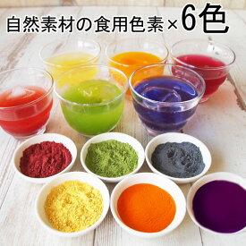 食紅 セット ナチュラルカラーパウダー 着色料 食用 粉末 食用色素 6色セット 赤 紫 黄 橙 青 緑 天然着色料 色粉 アイシング