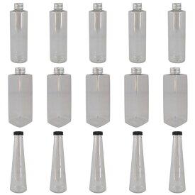 ハーバリウムボトル15本 丸型 四角型 円すい 植物標本 ハーバリウム用 プラスチック瓶 ボトル