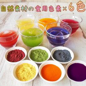 食紅 セット ナチュラルカラーパウダー 着色料 食用 粉末 食用色素 6色セット 赤 紫 黄 橙 青 緑 天然着色料 色粉 アイシング 色水あそび バスボム バレンタインデー