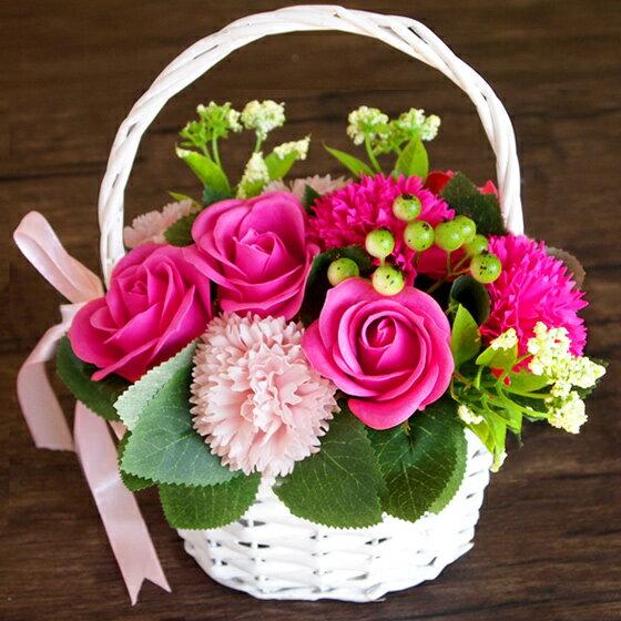 ソープフラワー 花かご 母の日 2019 ギフト バスケット ブーケシャボンフラワー 造花 アーティフィシャルフラワー プリザーブドフラワー 花 誕生日 ホワイトデー お返し バースデー お祝い 古希 還暦