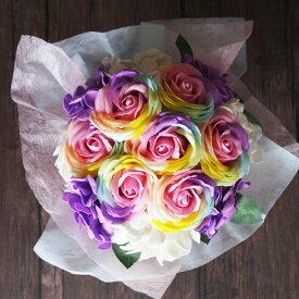 ソープフラワー レインボーローズ花束 ブーケ ギフト シャボンフラワー 造花 アーティフィシャルフラワー 花材 誕生日 記念日 挨拶 プレゼント バラ
