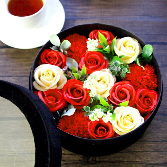 ソープフラワー ボックス ブーケシャボンフラワー 造花 アーティフィシャルフラワー プリザーブドフラワー 花 誕生日 バースデー お祝い 古希 還暦 クリスマス