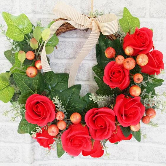 手作りソープフラワーリースキット リース ハンドメイド クラフト クリスマス ローズ アイビー シャボンフラワー サボンフラワー アーティフィシャルフラワー 造花 ドア 人工観葉植物