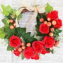 手作りクリスマスリース ソープフラワーリースキット ハンドメイド クラフト 春 夏 秋 冬 玄関 ベース付き 花材 ロー…