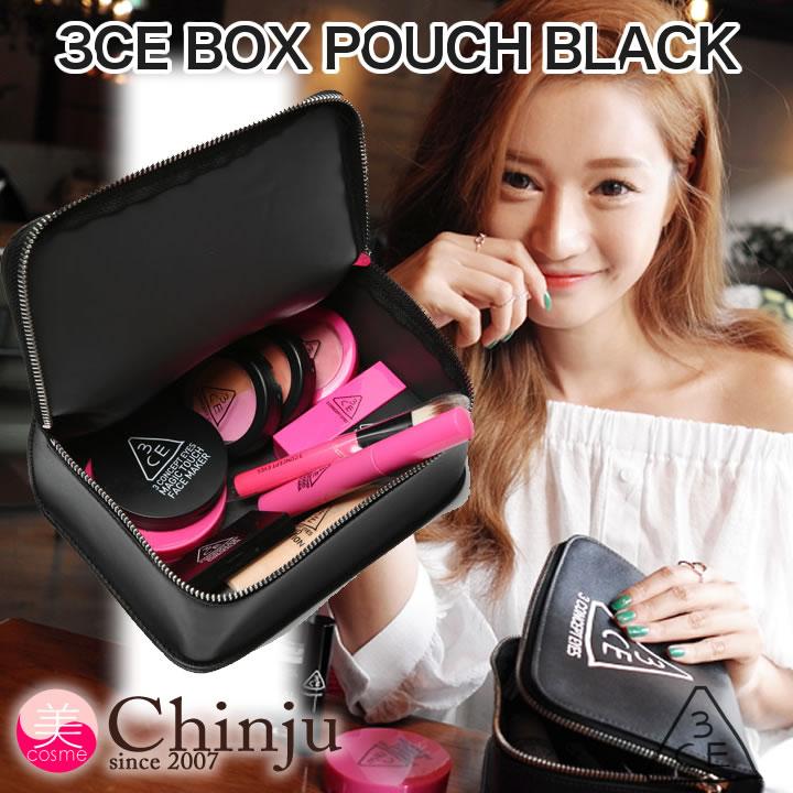 STYLENANDA 3CE BOX POUCH 化粧ポーチ 小物入れ ブラック BLACK 化粧バッグ スリーコンセプトアイズ