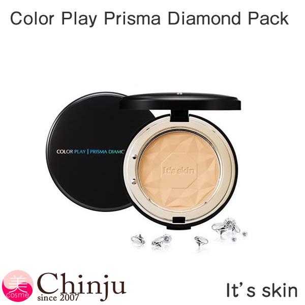 【ネコポス速達便】It's skin イッツスキン Color Play Prisma Diamond Pack カラー プレイ プリズマ ダイヤモンド パクト ファンデーション SPF525+/PA++ 韓国コスメ