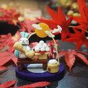 お月見きれのはな うさぎ 置物 飾り 玄関 インテリア 可愛い 季節 秋 月 団子 ススキ ちりめん コンパクト