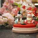 桃の節句 きれのはな 初節句 3月 雛祭り 可愛い コンパクト 玄関 弥生 うさぎ 桜 桃 雛人形 ちりめん ミニチュア ミニ 初節句 孫 お祝…