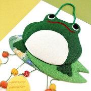 【ちりめん細工館かえる変わり下げ飾り】かえる緑蛙かわいい縁起物プレゼント人気ちりめん縮緬生地ちりめん細工