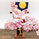 4月の羽子板飾り コンパクト ちりめん インテリア 玄関 卯月 土台付き 兎 ウサギ うさぎ 桜 さくら 夜桜 かわいい 可愛い