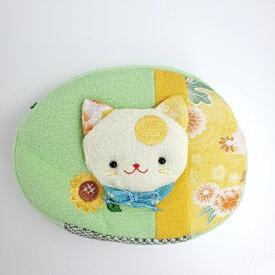 【3点までメール便OK】【猫の日】月変わり飾り 8月のポーチ 8月 葉月 猫 ネコ ねこ 可愛い ちりめん シルク 向日葵 ヒマワリ 刺繍 ポーチ マチ付き