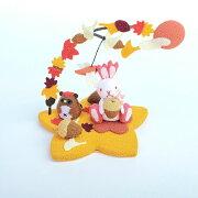 【きれのはな/紅葉】かわいい置物うさぎ飾り手作り節句可愛い季節プレゼント縮緬生地ちりめん外国人小さい小物飾り四季秋もみじメルヘン銀杏いちょう紅葉狩り