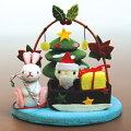 【きれのはな/クリスマス】かわいい置物うさぎ飾り手作りクリスマス可愛い季節プレゼント縮緬生地ちりめん外国人小さい小物飾り四季冬メルヘンXmasX'masサンタサンタクロース
