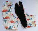 赤富士 4枚コハゼ[行田 柄足袋 日本製 手づくり日本 和装小物 和柄 富士山 柄 足袋][ポスト投函配達は送料無料]※商品により、柄の出方が異なります