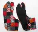 紅市松/和柄 4枚コハゼ 柄足袋 和柄 日本製 手づくり