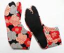 麻の葉×ストライプ(赤/黒) 4枚コハゼ 柄足袋 和柄 日本製 手づくり