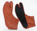 赤地に金の麻の葉 4枚コハゼ 柄足袋 和柄 日本製 手づくり