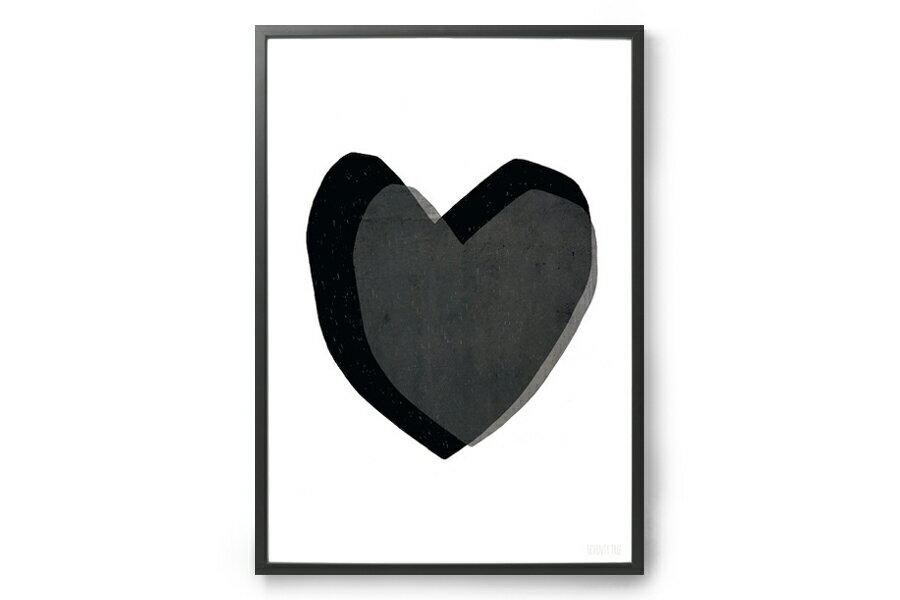 SEVENTY TREEセブンティツリー ポスター/アートプリント 30×40cm Layered Hearts【ハート イギリス イラスト インテリア 北欧雑貨 おしゃれ 壁掛け 絵画 パネル モダン モノクロ モノトーン】