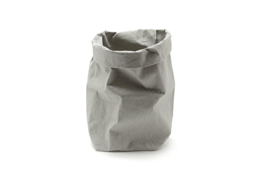 UASHMAMA セルロース 100% 洗えるペーパーバッグ LサイズPLUS モノクロ 19×19cm【イタリア製 ハンドメイド おしゃれ 収納袋 かご 果物 野菜 花 モノトーン ナチュラル 北欧 小物入れ】