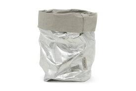 UASHMAMA セルロース 100% 洗えるペーパーバッグ XLサイズ メタリック 24×24cm【イタリア製 ハンドメイド おしゃれ 収納袋 かご 果物 野菜 花 モノトーン ナチュラル 北欧 小物入れ】
