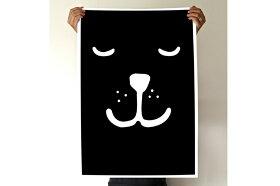 TELLKIDDOポスター/アートプリント50×70Animalface:SleepingBear【北欧雑貨スウェーデン製リビング子供部屋キッズルームイラストインテリアおしゃれ壁掛け絵画パネルモダンモノクロモノトーン】