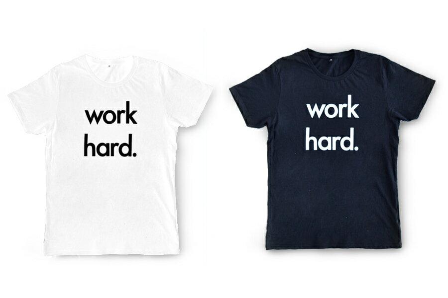 Nor-Folk イギリス製 ユニセックス Tシャツ 'Work Hard' ギフトやお祝いにも【モノトーン おしゃれ 親子 お揃い プレゼント】