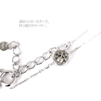 K18YG/PG/WG0.1ctダイヤブレスレット(チョコ留・裏クローバー)H・SI2・GOOD/カード鑑別付