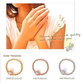 ダイヤモンドリングK18ゴールド0.12ctダイヤモンドチェーンリングピンキーリング指輪レディースシンプルダイヤリング在庫有り送料無料