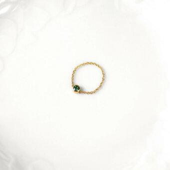 エメラルドチェーンリング一粒K18YGPGWGゴールド指輪ピンキーリング-1〜16号18金レディースクローバー