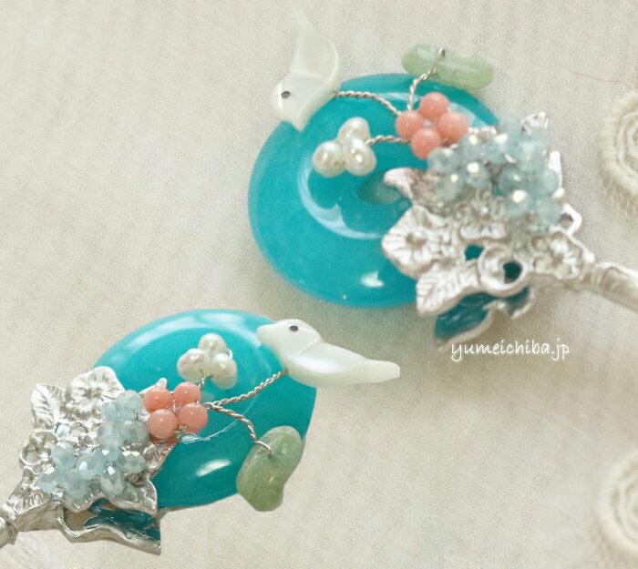 韓国コチNo93 トルコ石と鳥のかんざし■cochi-93-s【ギフト】【お土産】