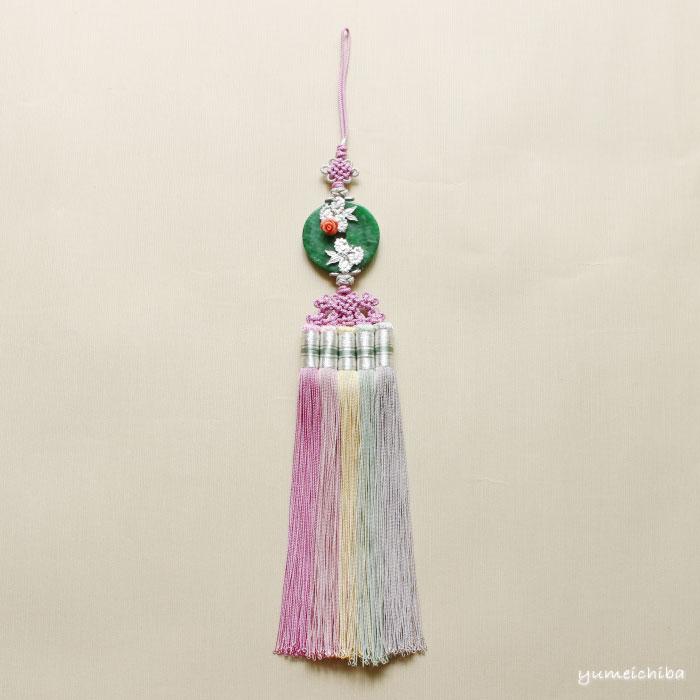 チマチョゴリの胸から垂らす飾り シルク翡翠ノリゲ■norige-h-48-s【ギフト】【お土産】