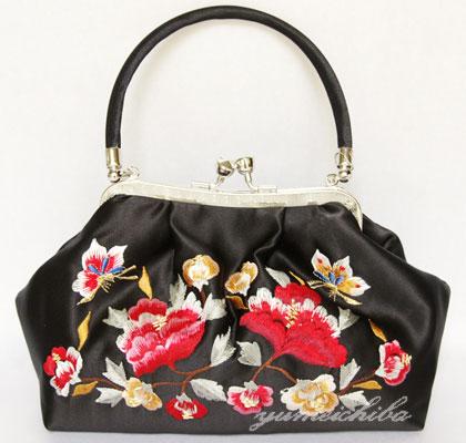 パーティーバッグ・夢市場オリジナルサテン刺繍バッグ 黒■bag-1-8bk-s【ギフト】