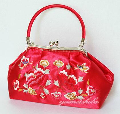 パーティーバッグ・夢市場オリジナルサテン刺繍バッグ 赤■bag-1-8r-s【ギフト】