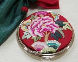 韓国手刺繍丸型コンパクト・赤■compact-2-5-s【ギフト】【お土産】