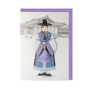 韓国 メッセージカード (韓服 )パジチョゴリ王6■messagecard-ft221-6-s【ギフト】【お土産】