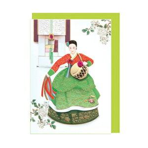 韓国 メッセージカード (韓服 )チマチョゴリ舞踊■messagecard-ft226-2-s【ギフト】【お土産】