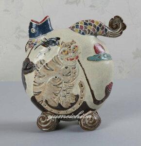 韓国有名陶芸家作 イギョンヒョン・鵲かささぎと虎花器■touki-3-s【ギフト】【お土産】