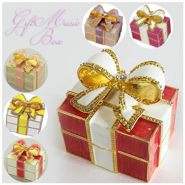 プレゼントボックス オルゴール = (ac) 送料530円から リボン ジュエリー ケース プレゼント 宝石箱  =