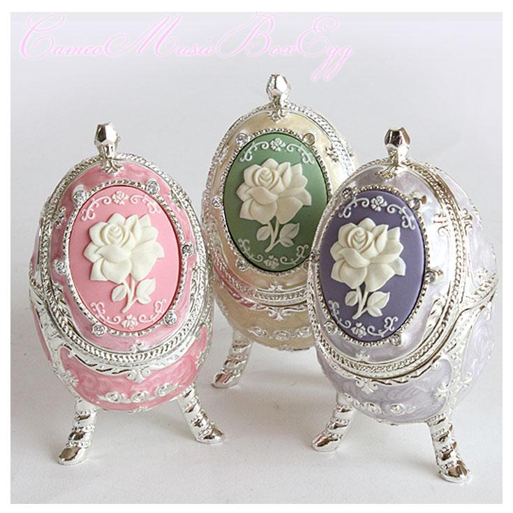 カメオ オルゴール 宝石箱 エッグ =(ot)送料432円から ジュエルボックス ギフト 薔薇 卵型 =