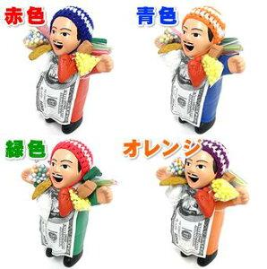 【代引き・送料無料!】 本物のエケコ人形 4色セット 【赤、青、緑、オレンジ各1個】 (Lサイズ:約20cm、製造国:ペルー産) (エケッコー、エコケ、ekeko、開運祈願グッズ、開運祈