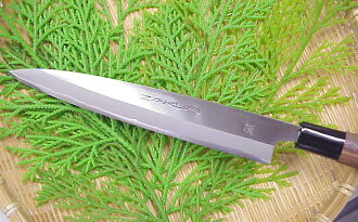 ZAKURI ★ Yanagiba knife (Willow flute, Willow should) double edged and polished ( polishing ) ◆ blade length 210 mm ★ Super steel (571-650)