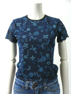[energie ★ energy] T-shirt size - S / No. 7 short sleeve Navy / Blue floral print Womens tops #enehktm6-S