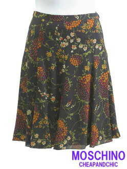 [MOSCHINO CHEAP &CHIC ★ mosquinocigpandssic] • skirt Italy size-40 / 9 No. flare dark brown / dark brown high-waisted pleated floral chiffon Mermaid women's bottoms #mos6626156a-40